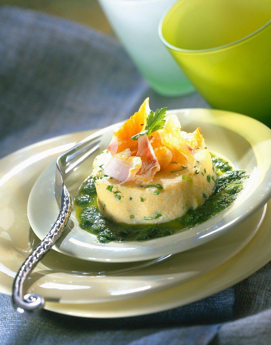 Flavored polenta with haddock