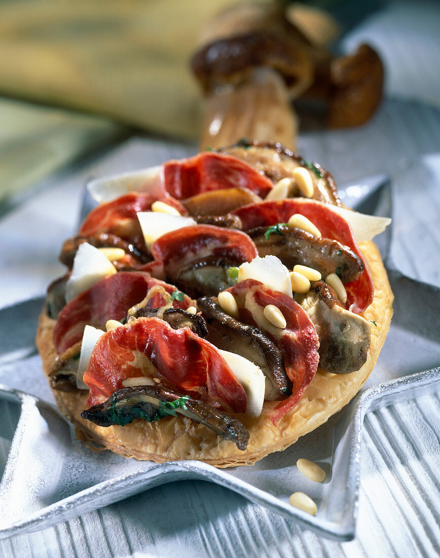 Cep , coppa and parmesan savoury tart