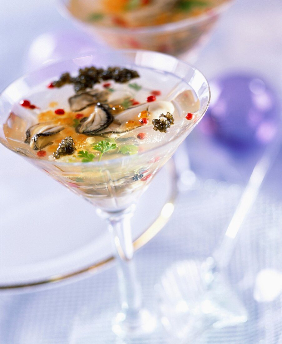 Oysters in Champagne aspic