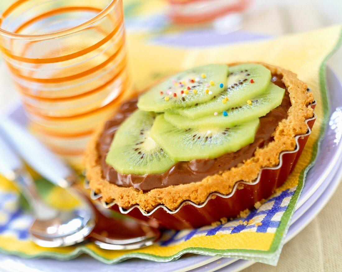 chocolate and kiwi tart