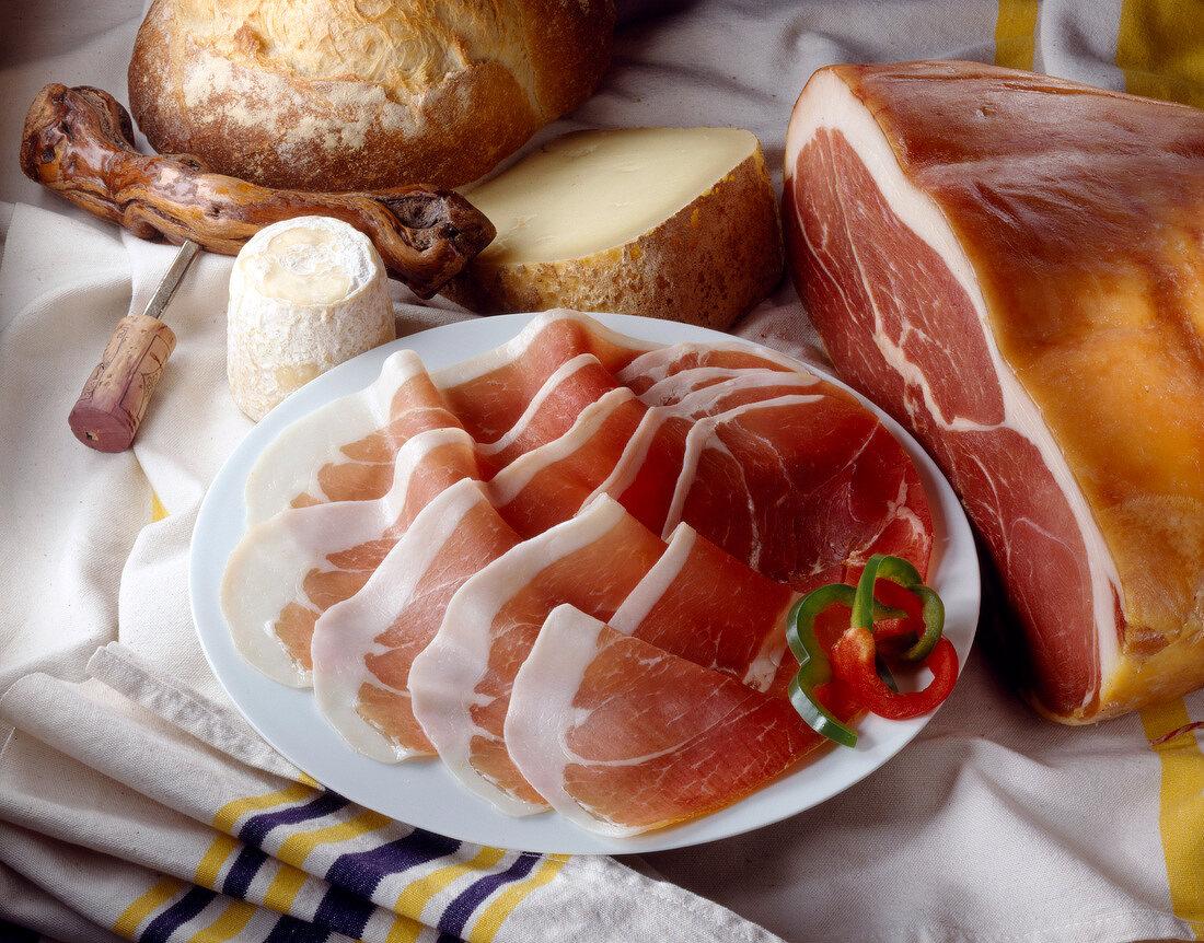 Slices of Bayonne ham
