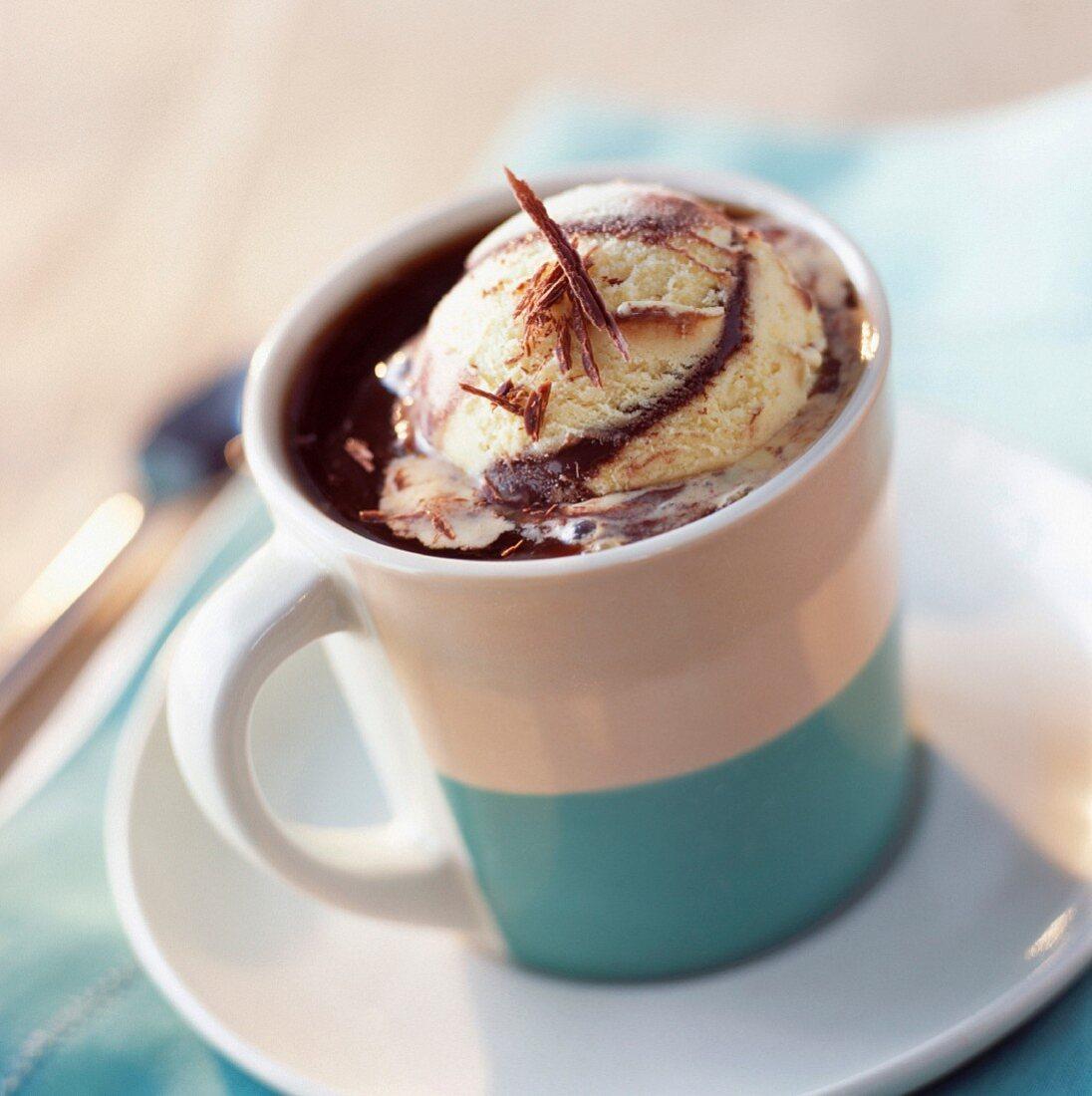 Mug of hot chocolate with scoop of ice cream