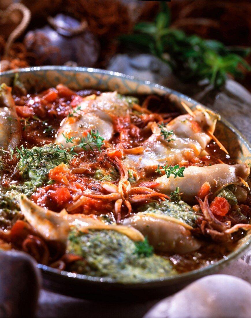 Squid stuffed with Bruccio