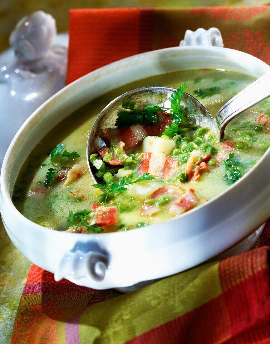 Pea and new potato soup