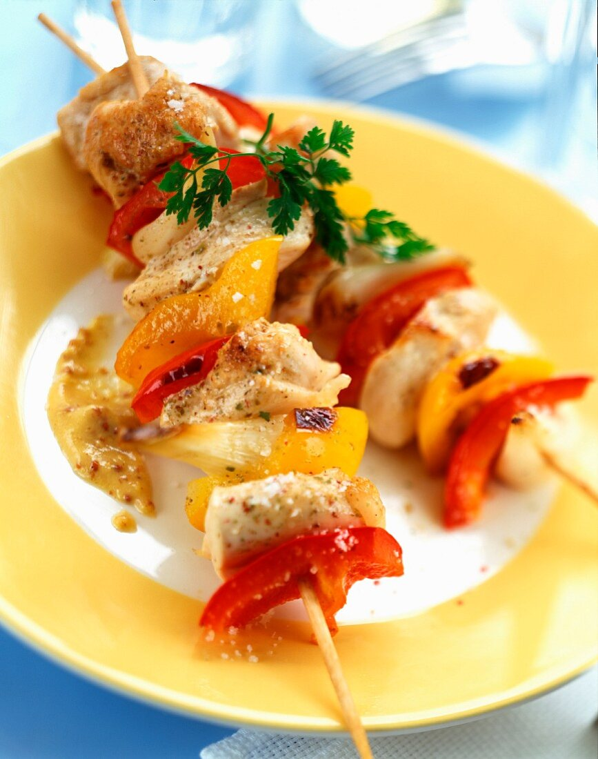 Chicken and pepper skewers