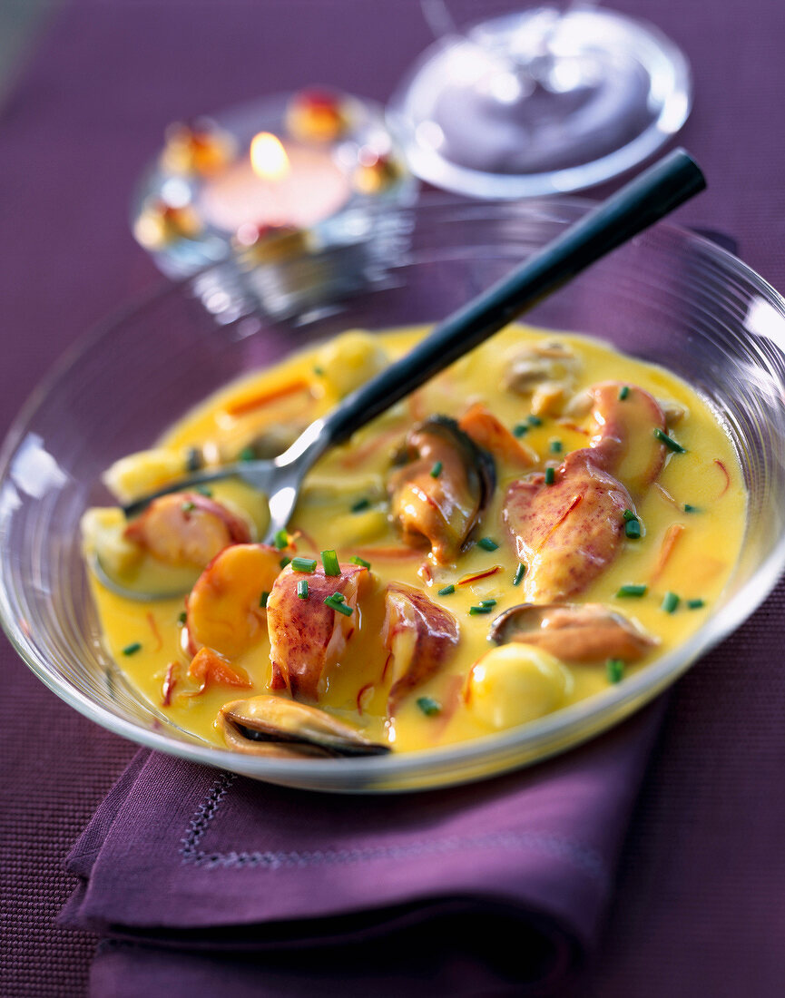 Lobster, clam and mussel stew with saffron
