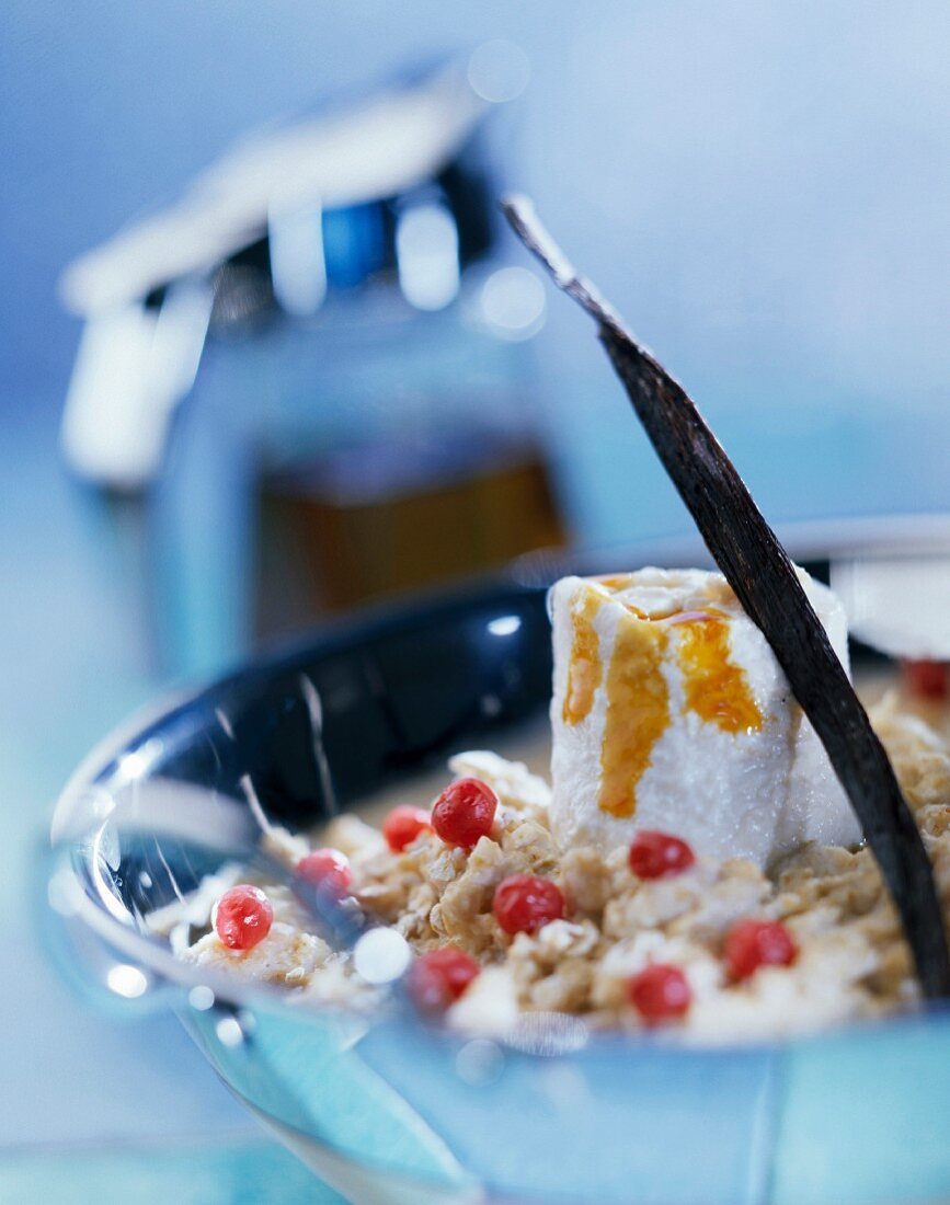 Breakfast with cereal, fromage frais and honey