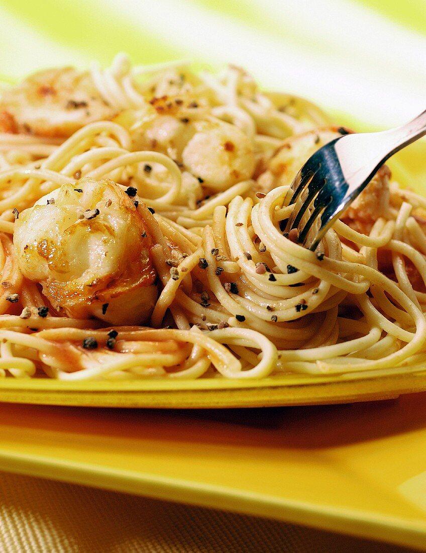 Spaghetti wth spiny lobster