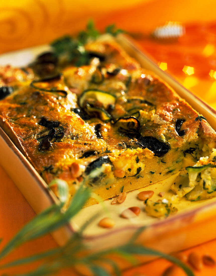 Aubergine and courgette batter pudding