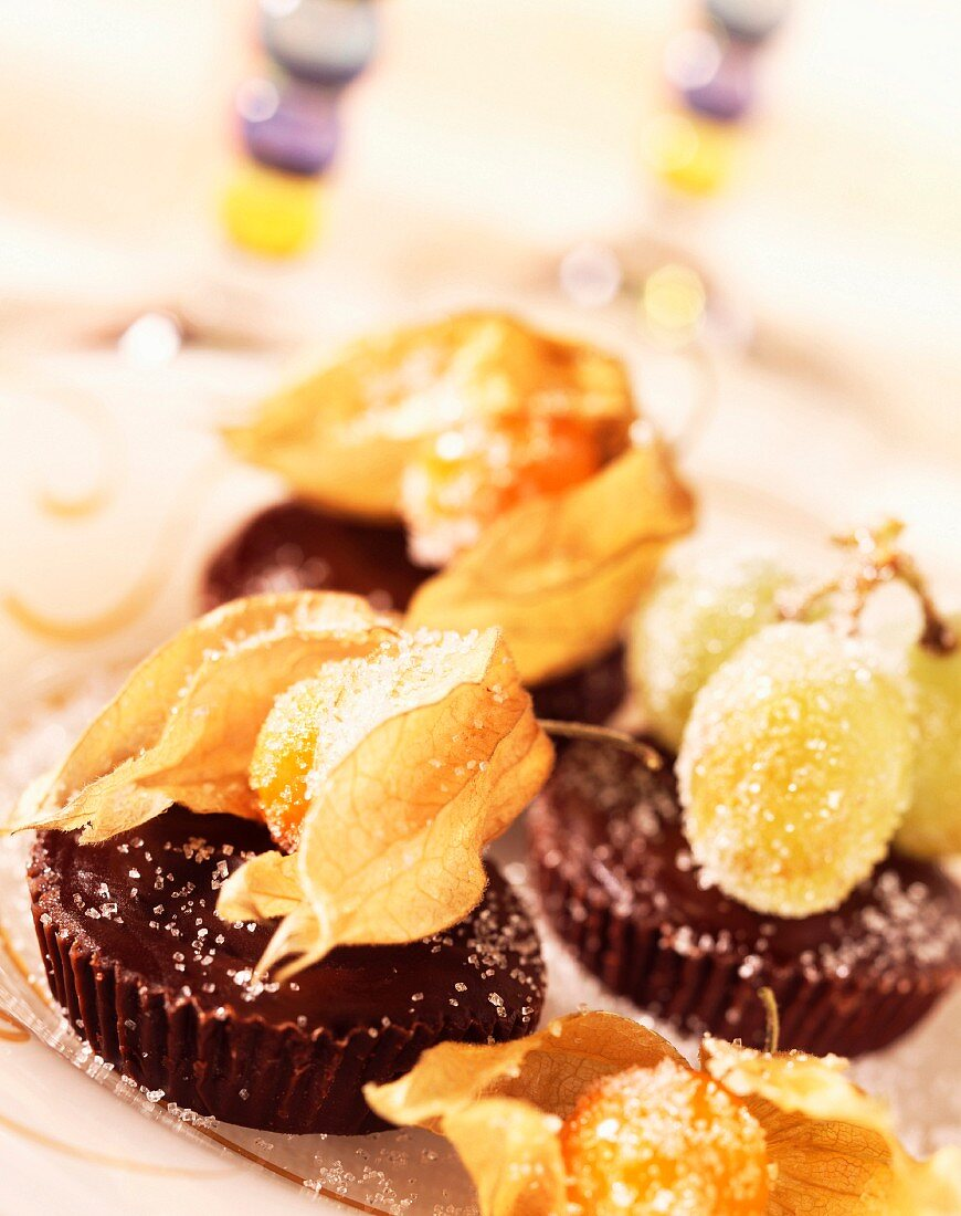 crystallized fruit and chocolate dessert (topic : winter fruits)