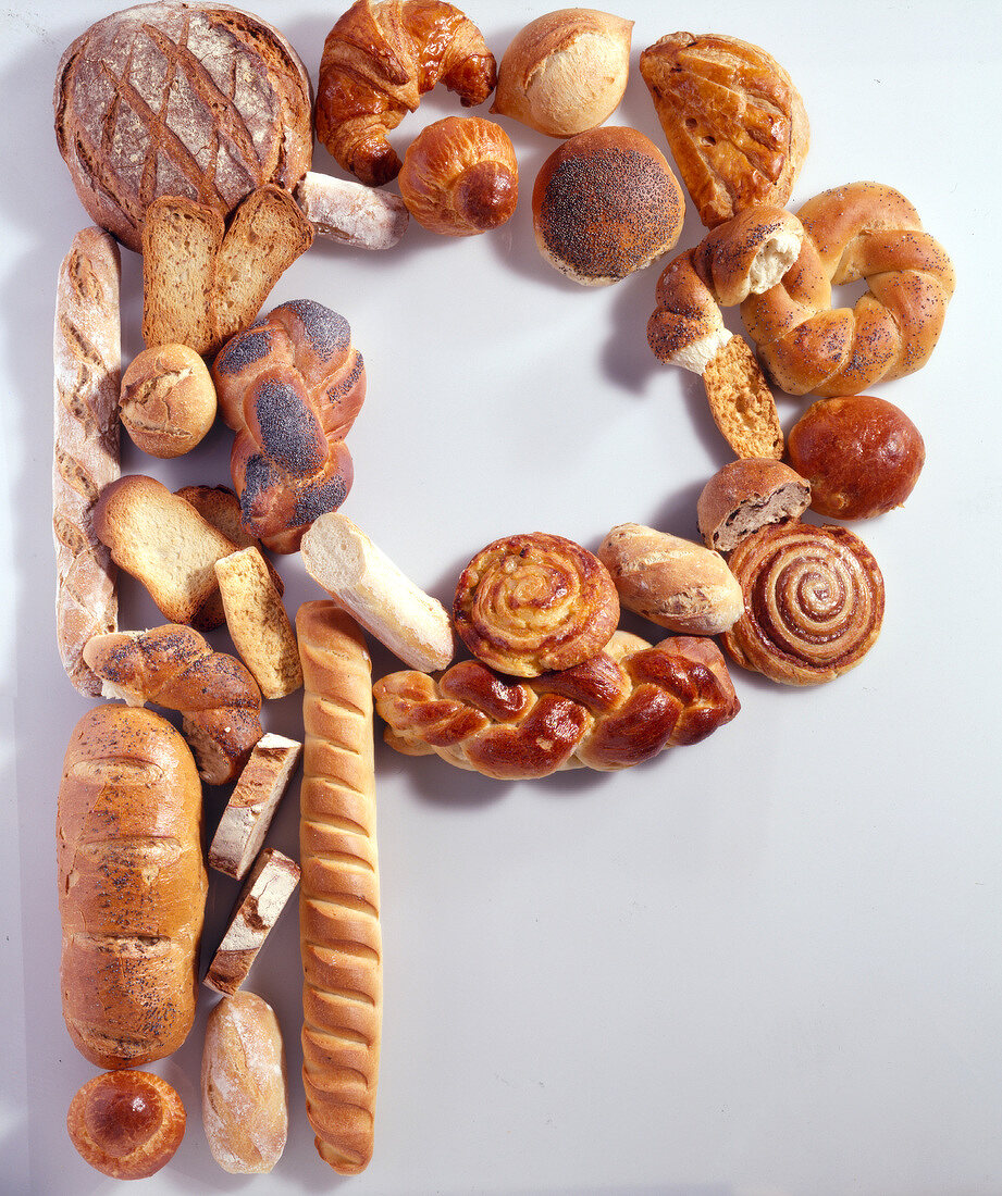 Selection of breads arranged in letter P shape