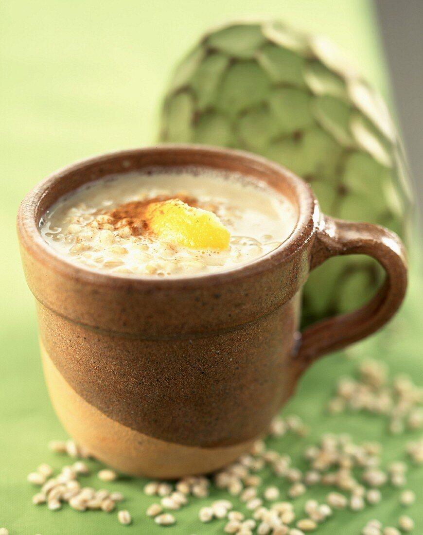 Oats with Chirimoya milk and cinnamon