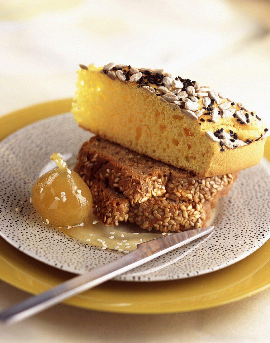 Savoury saffron loaf and sesame seed loaf