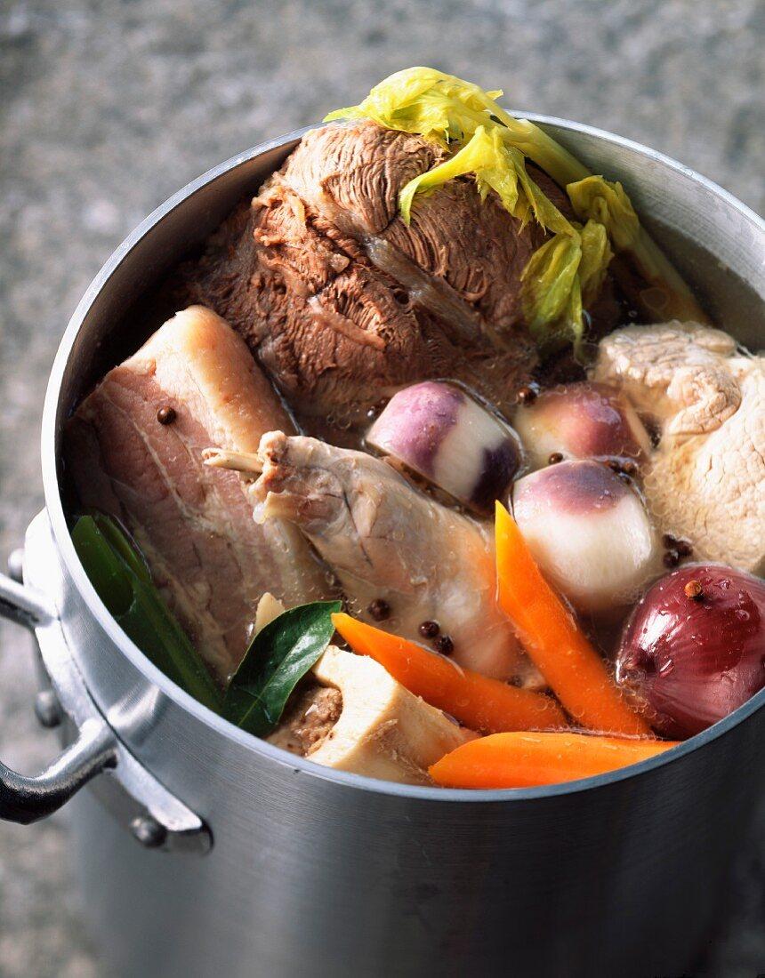 Four meat pot-au-feu
