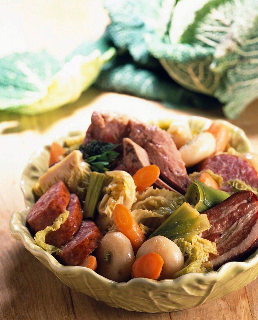 Bollito misto potée with cabbage and porc sausage