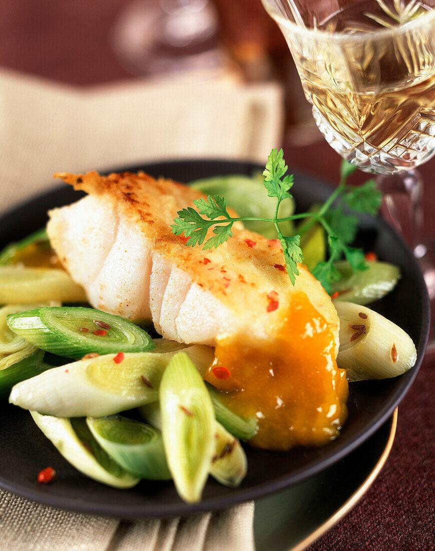 Cod with leek fondue