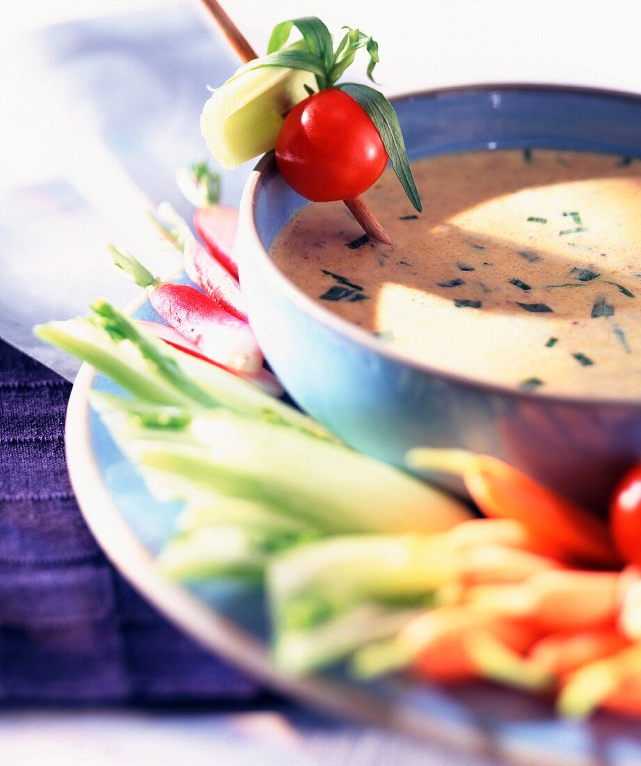 Raw vegetables and mustard and tarragon dip