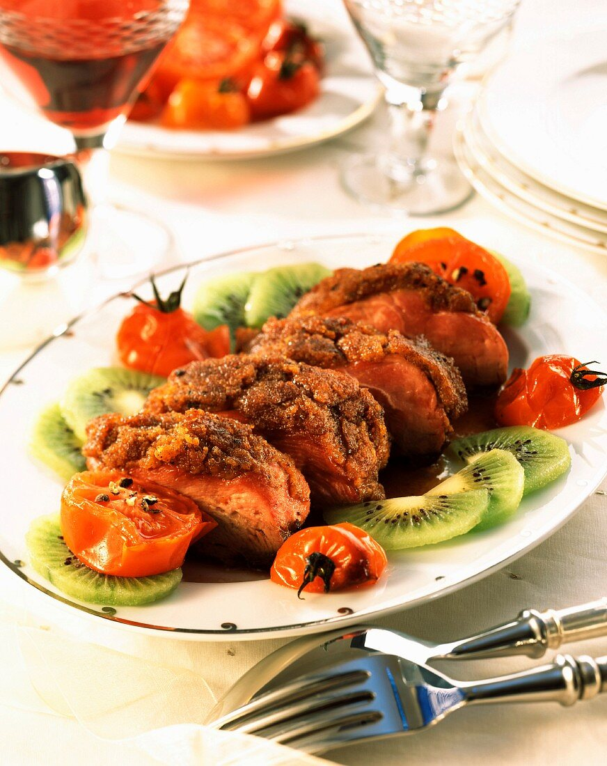 Duck breast covered with gingerbread crumbs and fried