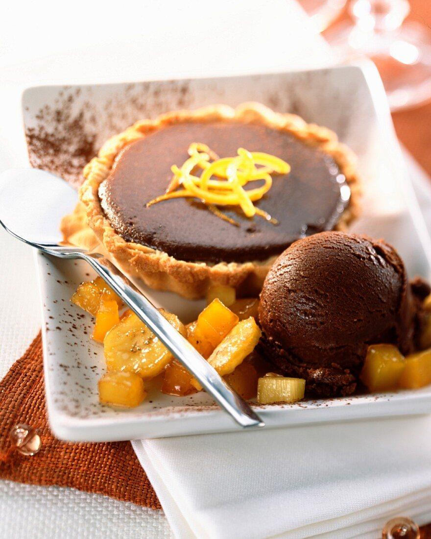 Mini chocolate tart with chocolate sorbet