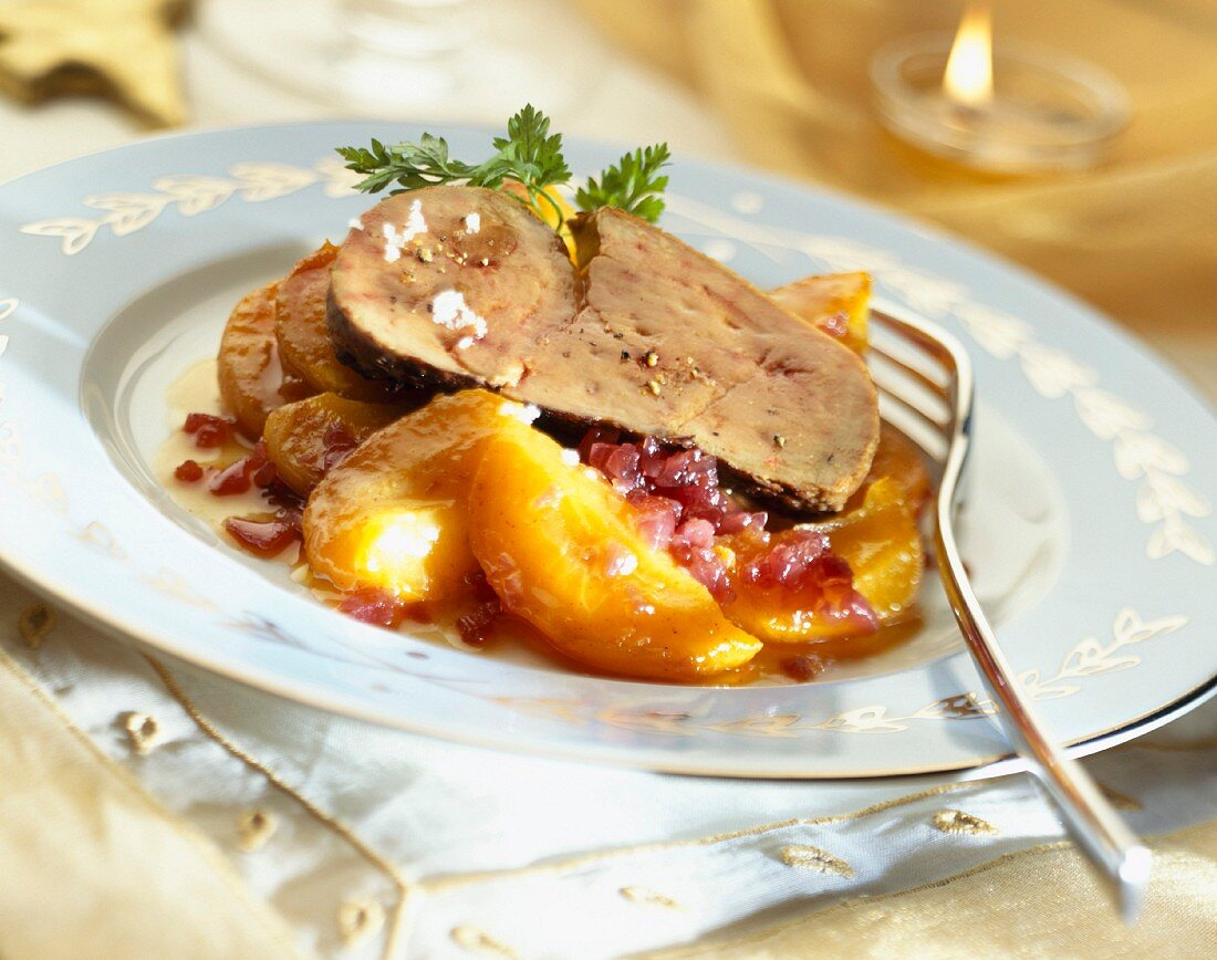 Pan-fried foie gras with peaches