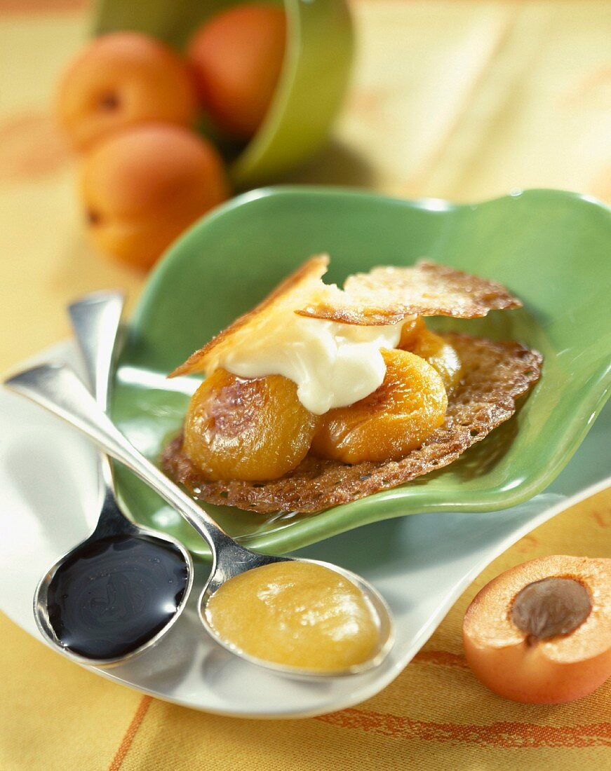 Crisp tuile biscuit with roast apricots