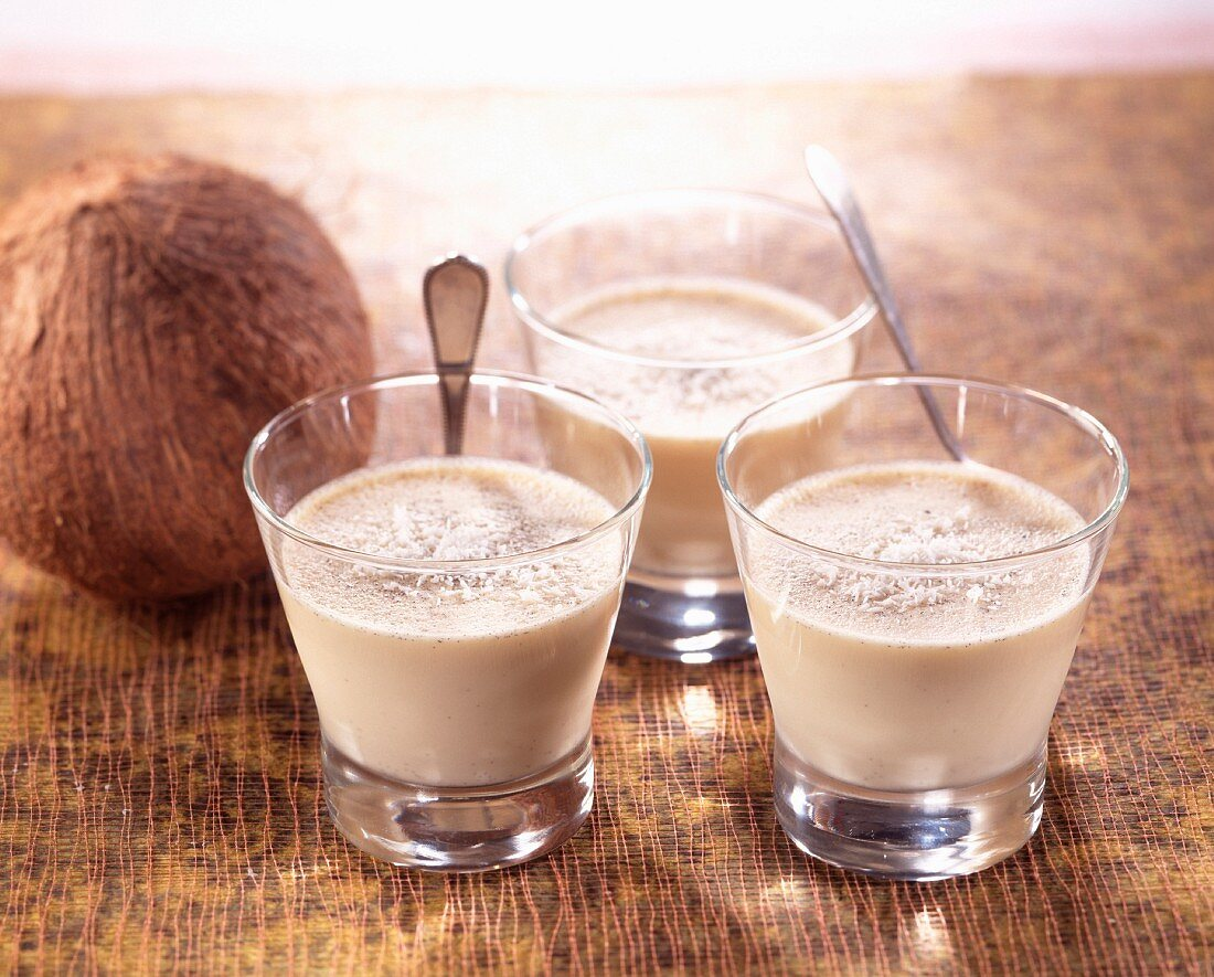 Glasses of coconut blancmange