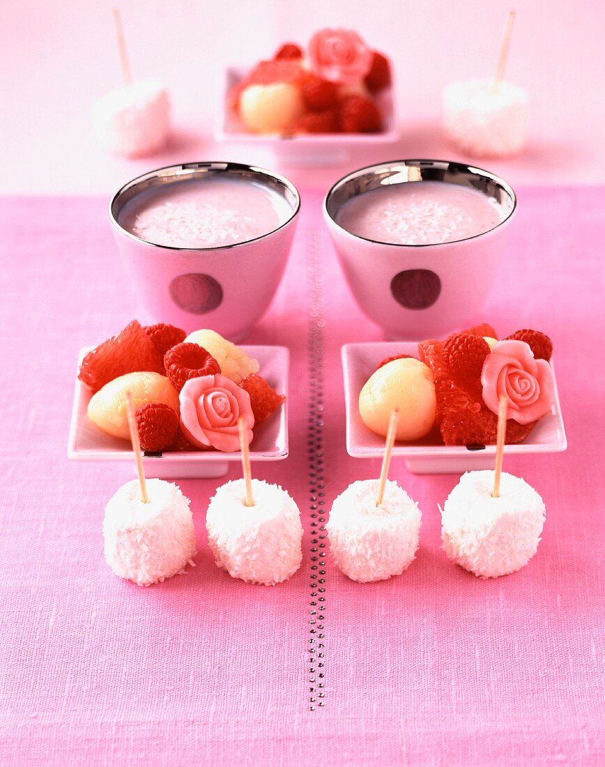 Marshmallows, coconut and lychee salad, strawberry lassi and orgeat syrup