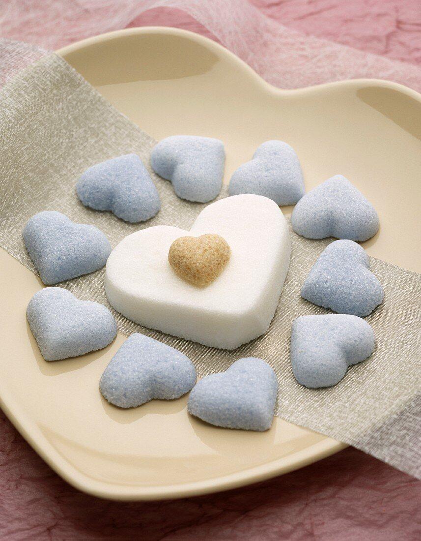 Heart-shaped sugar candies