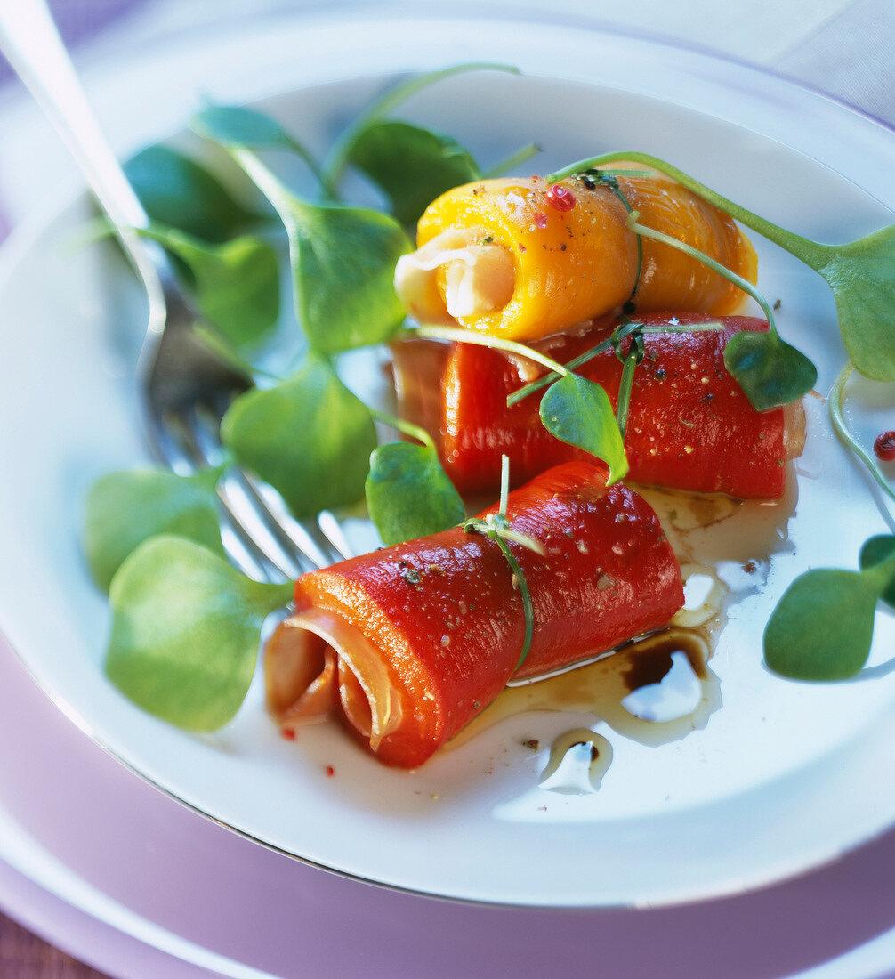 Pepper and cured ham rolls