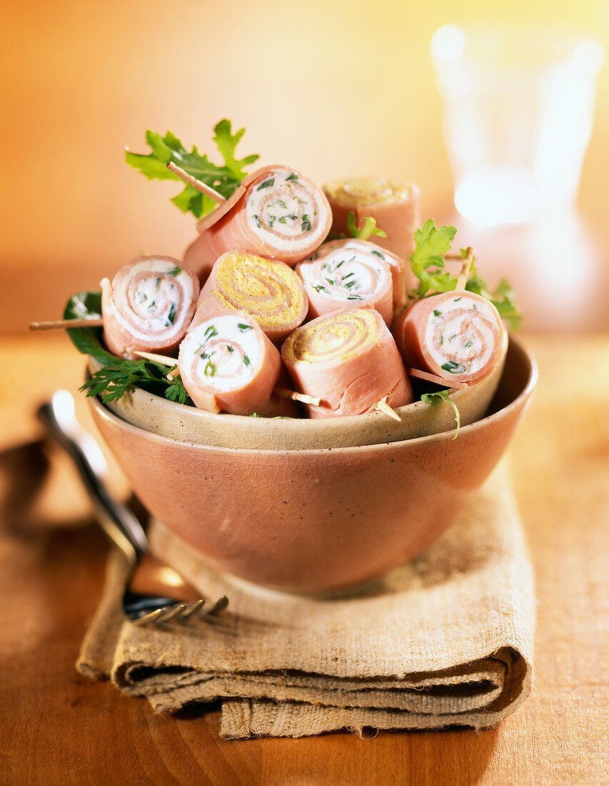 Ham and Fromage frais rolls with curry and fresh herbs