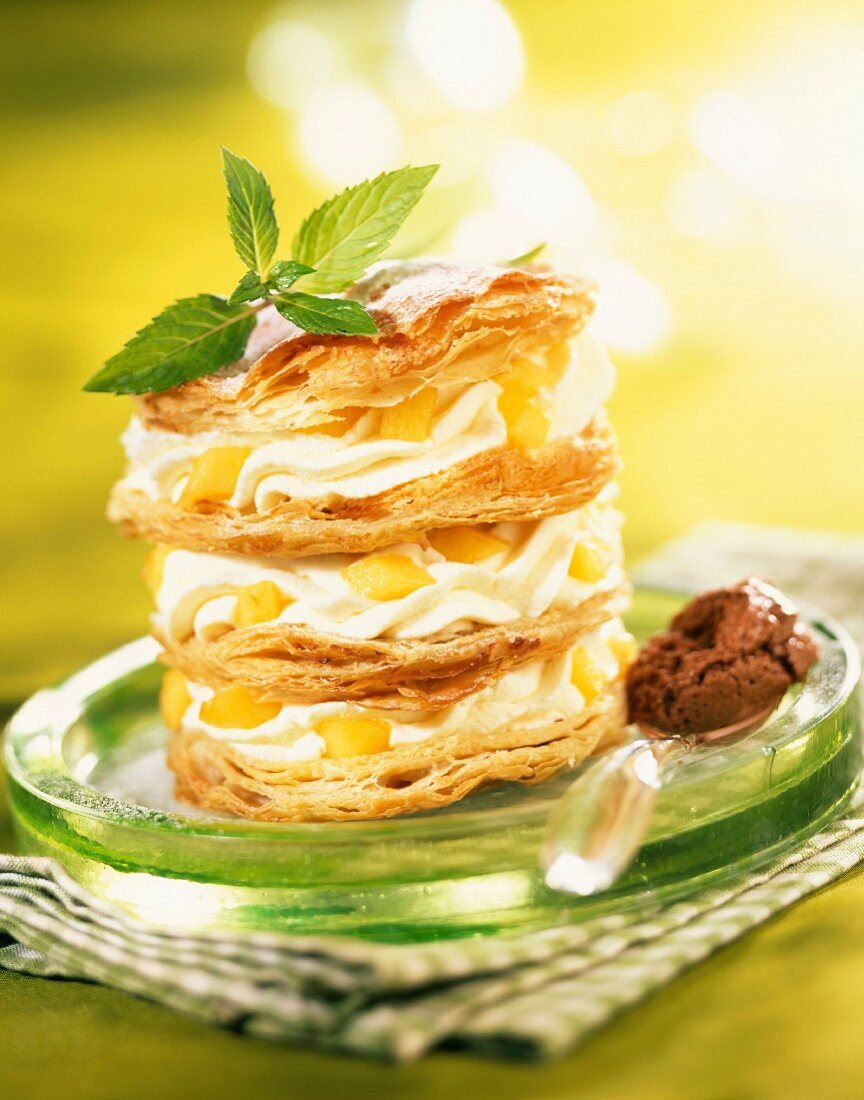 Mousse and peach in flaky pastry