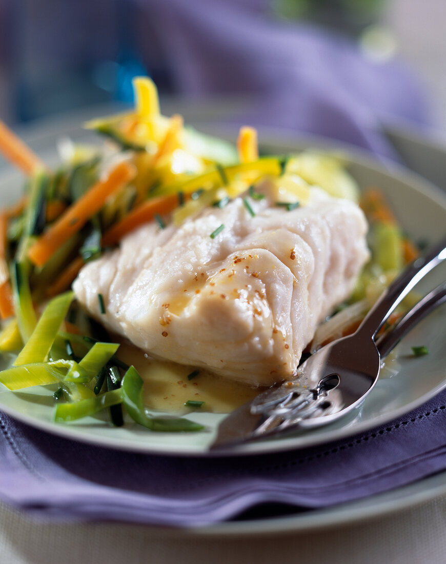 cod with baby vegetables