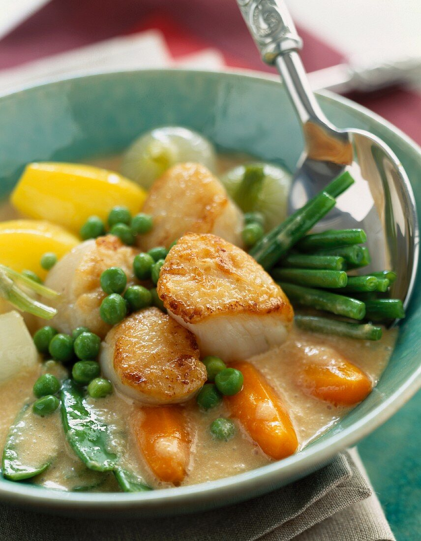 Grilled scallops with vegetables in sauce