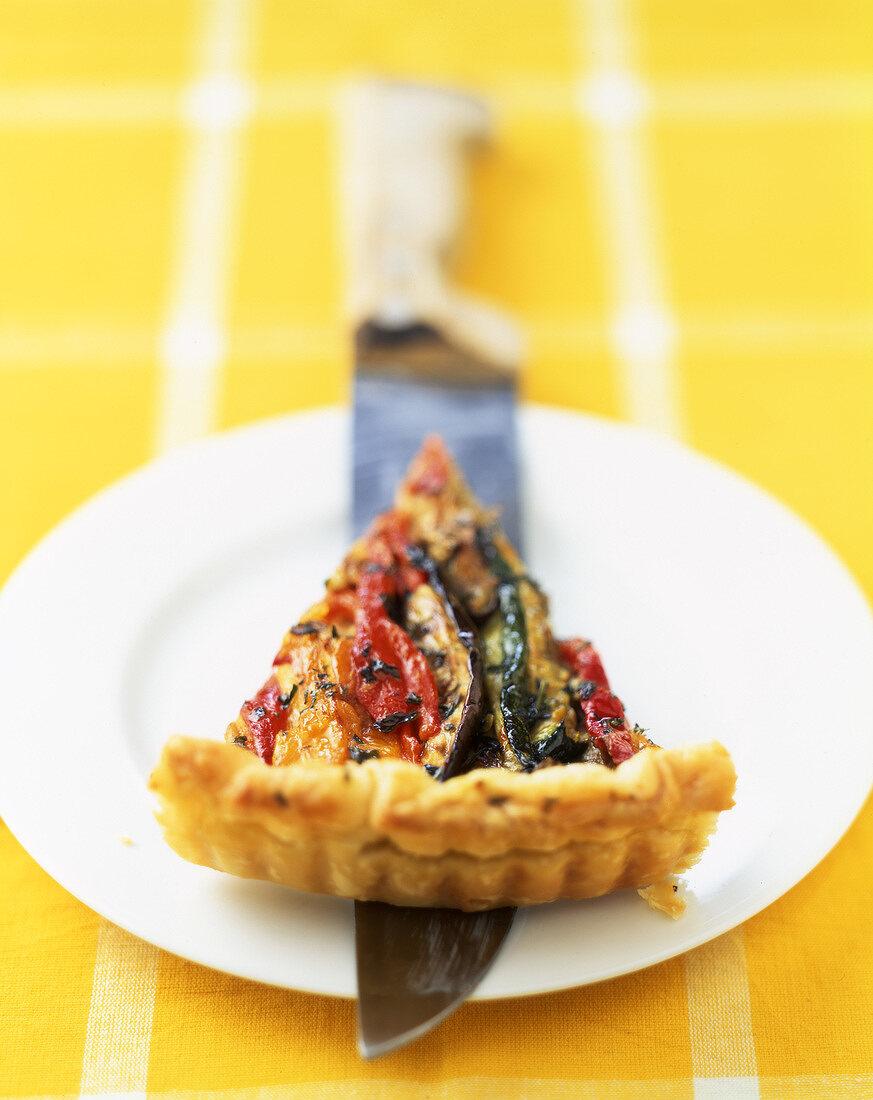 Summer vegetables and emmental flaky pastry tart