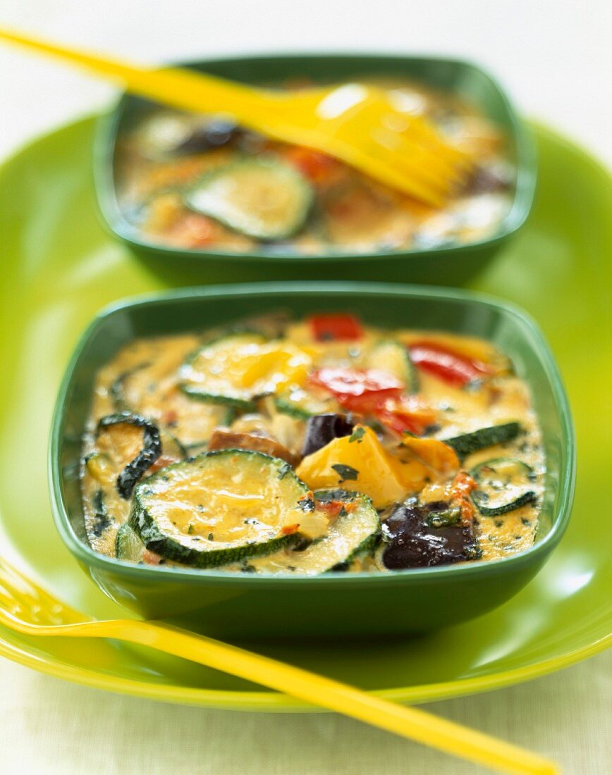 Vegetable timbale with sorrel sauce