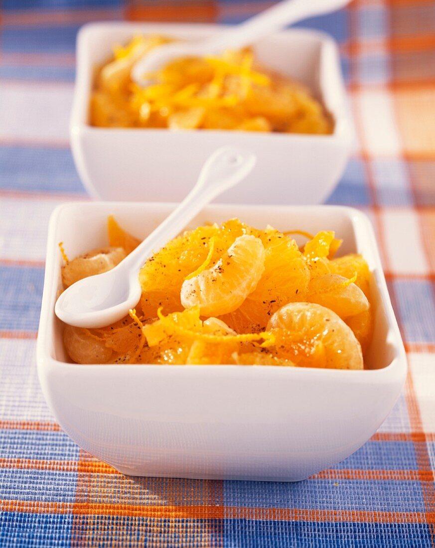 Orange and clementine spicy fruit salad