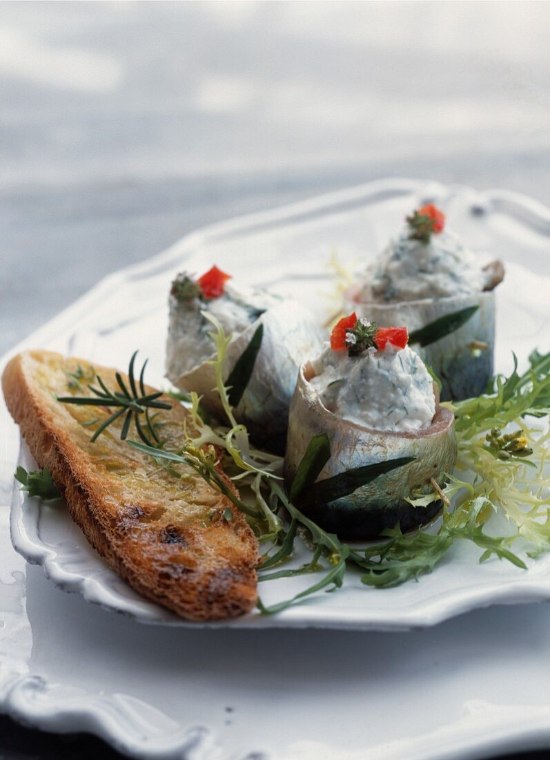 Marinated sardines with tarragon and Brocciu cheese