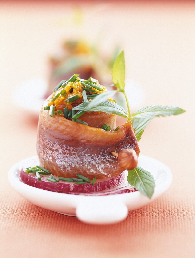 rolled herring with orange chutney