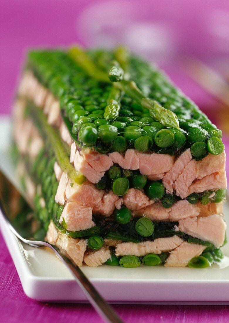 Salmon terrine with peas and asparagus