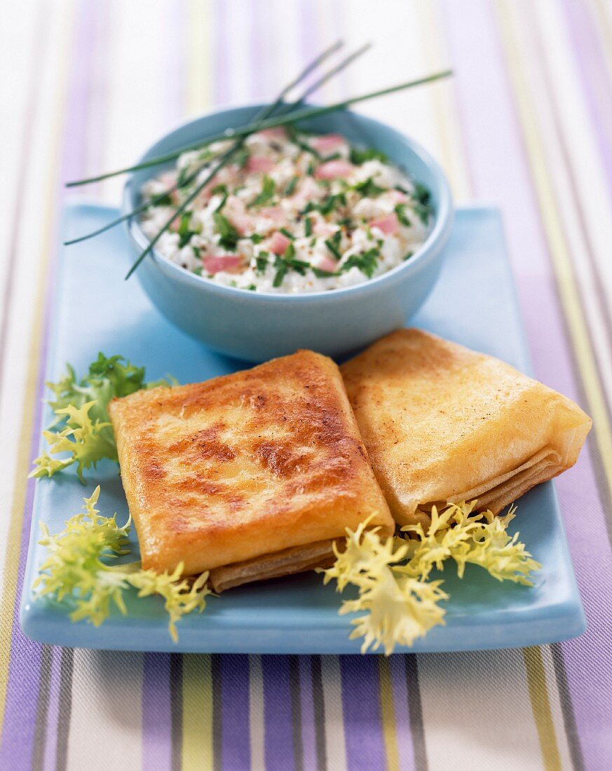 fromage frais with herbs and pannequet crepes filled with saint-marcellin (topic: Robuchon recipe)