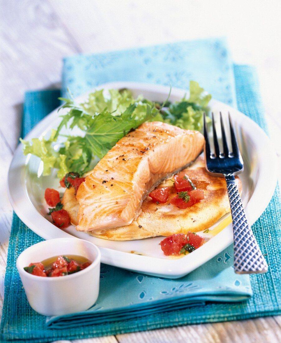 Hazelnut flour blinis with salmon escalope
