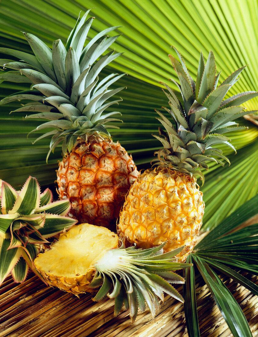 arrangement of pineapples