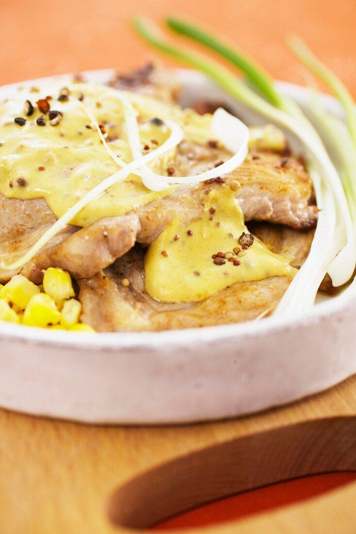 Grilled pork backbone with seedy mustard