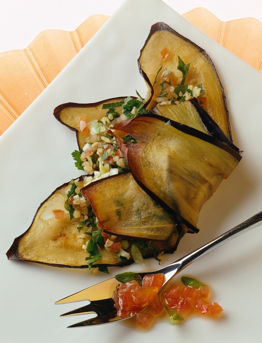 Eggplant slices fried with Lebanese tabbouleh