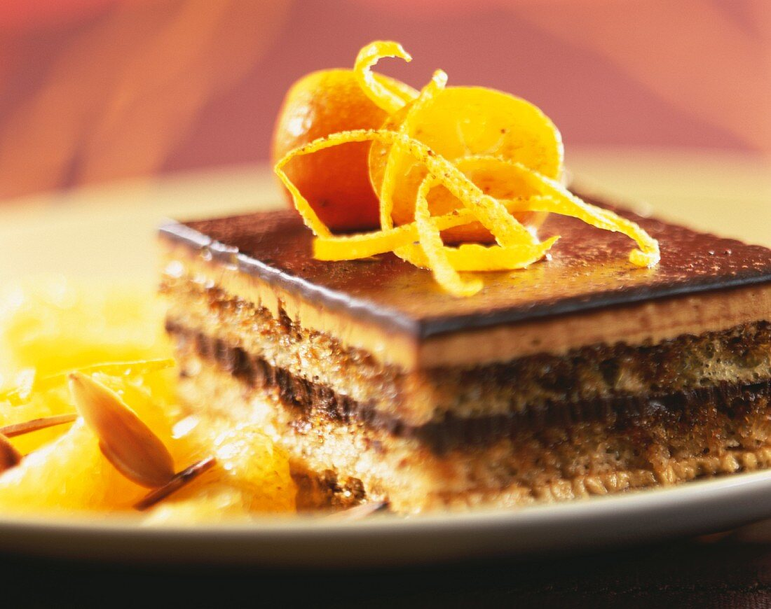 Opera coffee and chocolate sponge cake