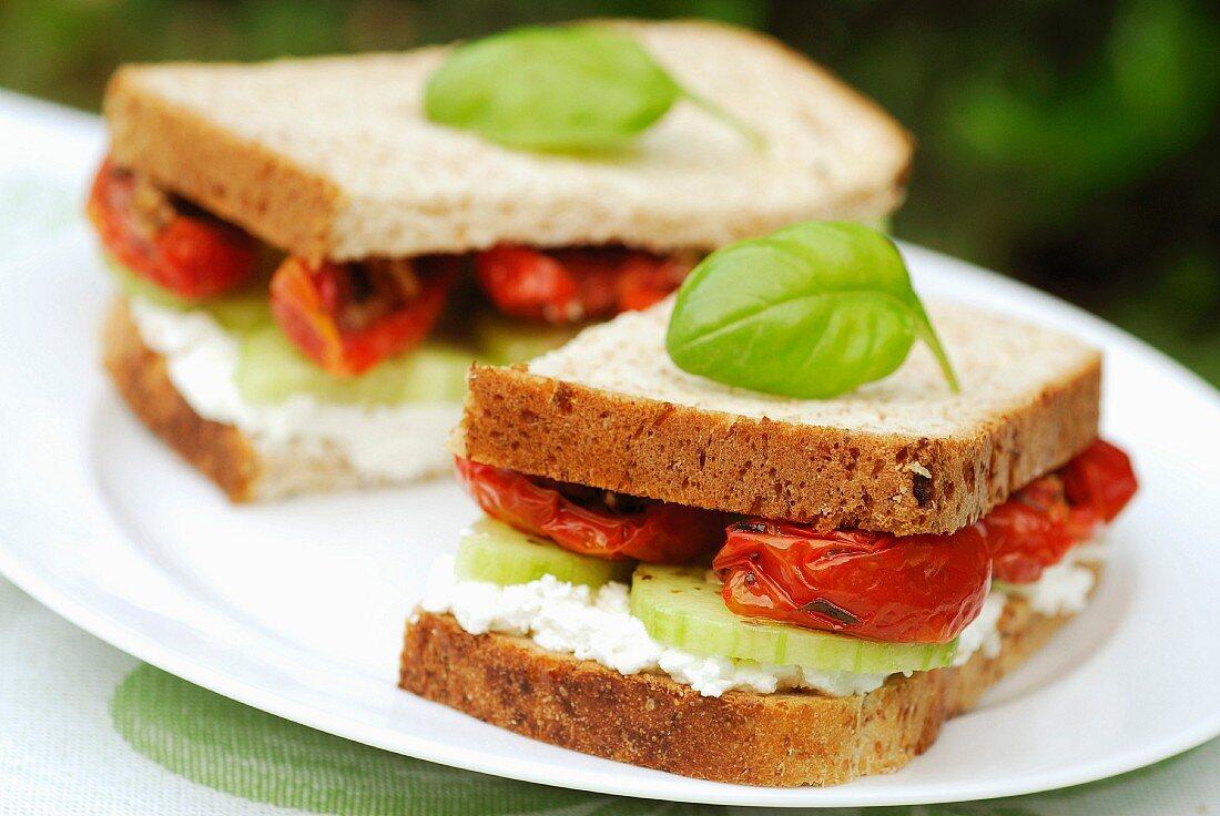 Goat, cucumber and tomato sandwich