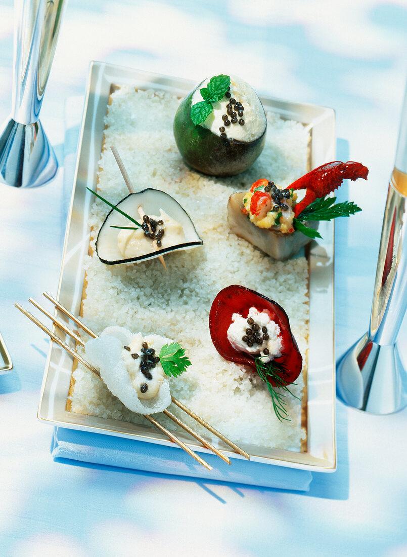 plate of caviar appetizers (topic: caviar)