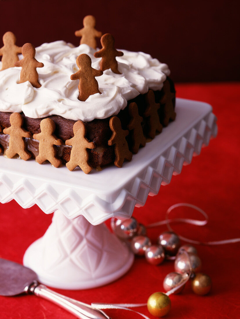 Children's chocolate cake with whipped cream