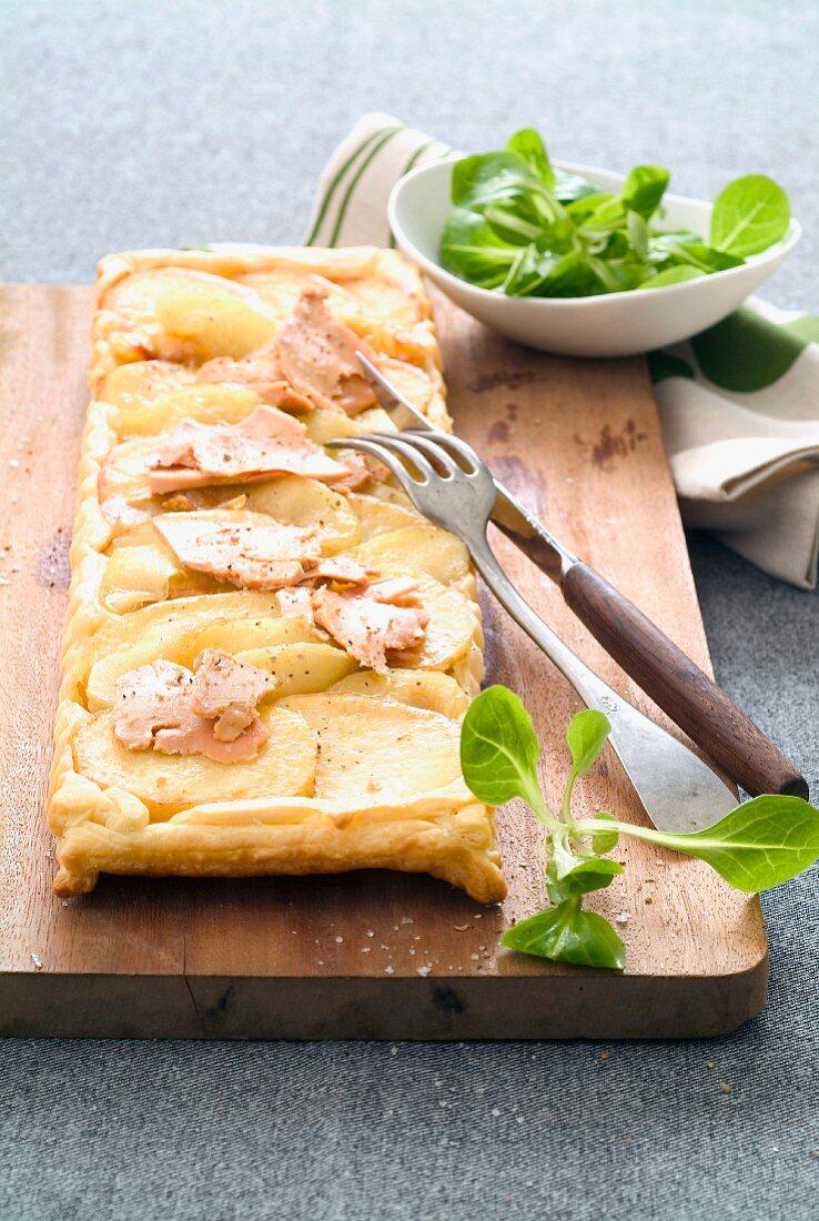 Apple and foie gras tatin tart