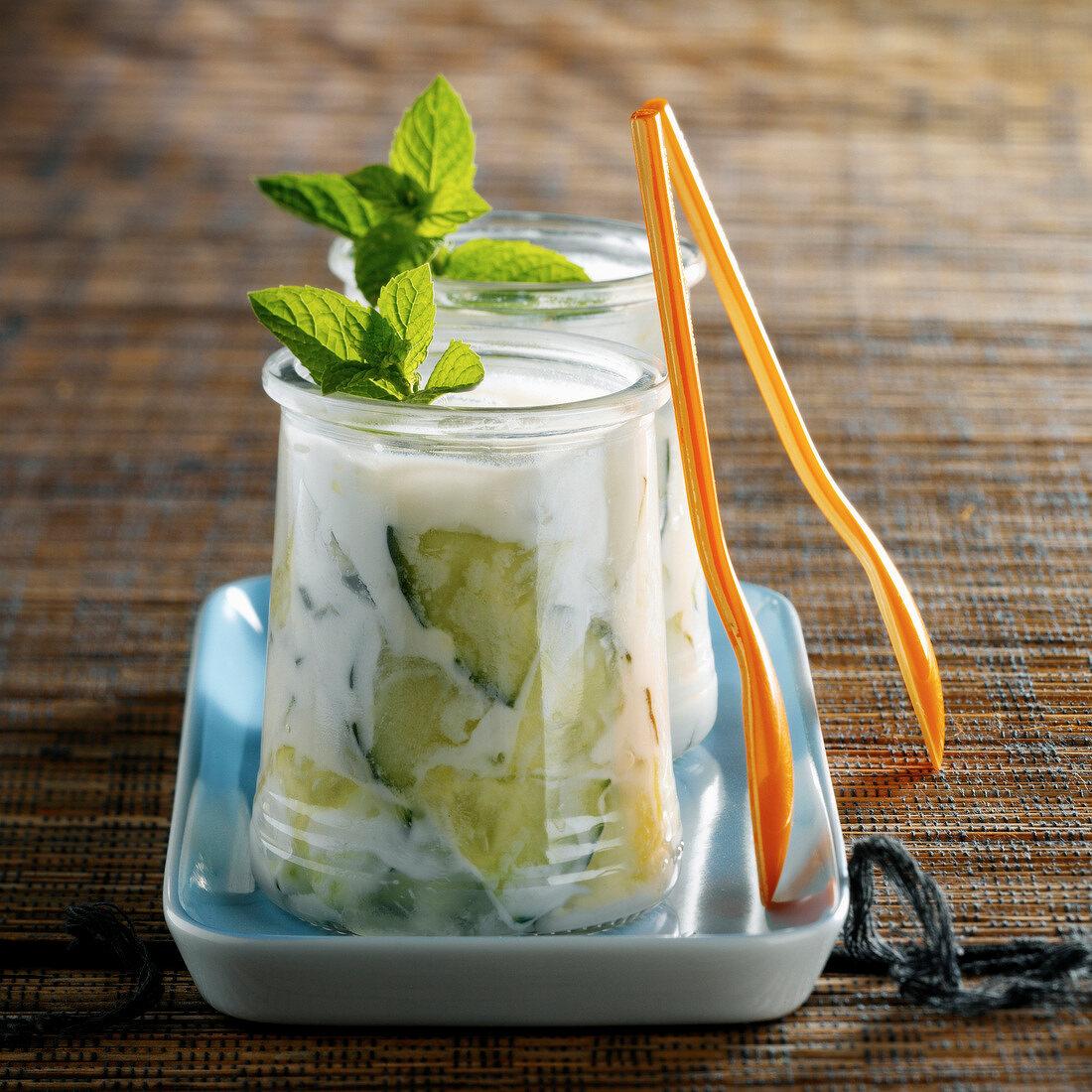 Tzatziki in yoghurt pots